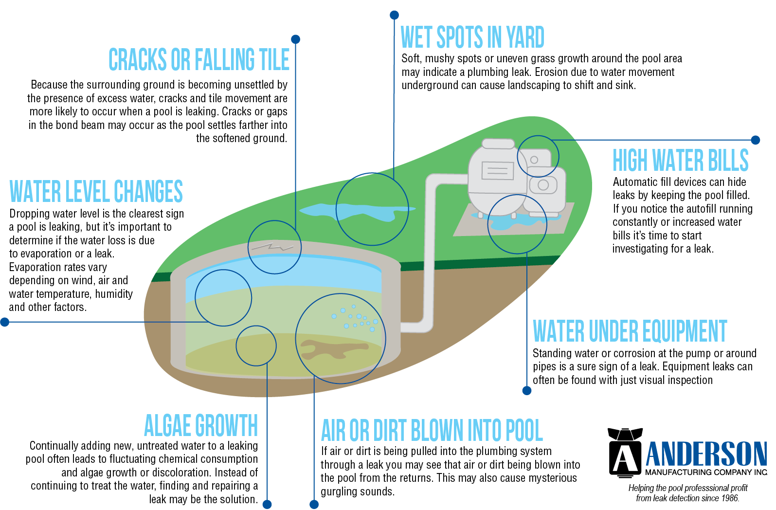 infographic showing the common signs of a leaking pool