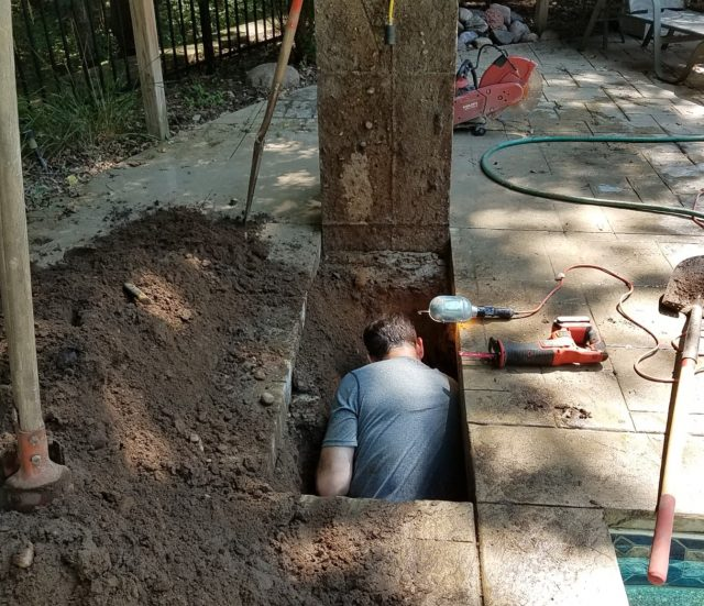 Digging in concrete deck for plumbing leak