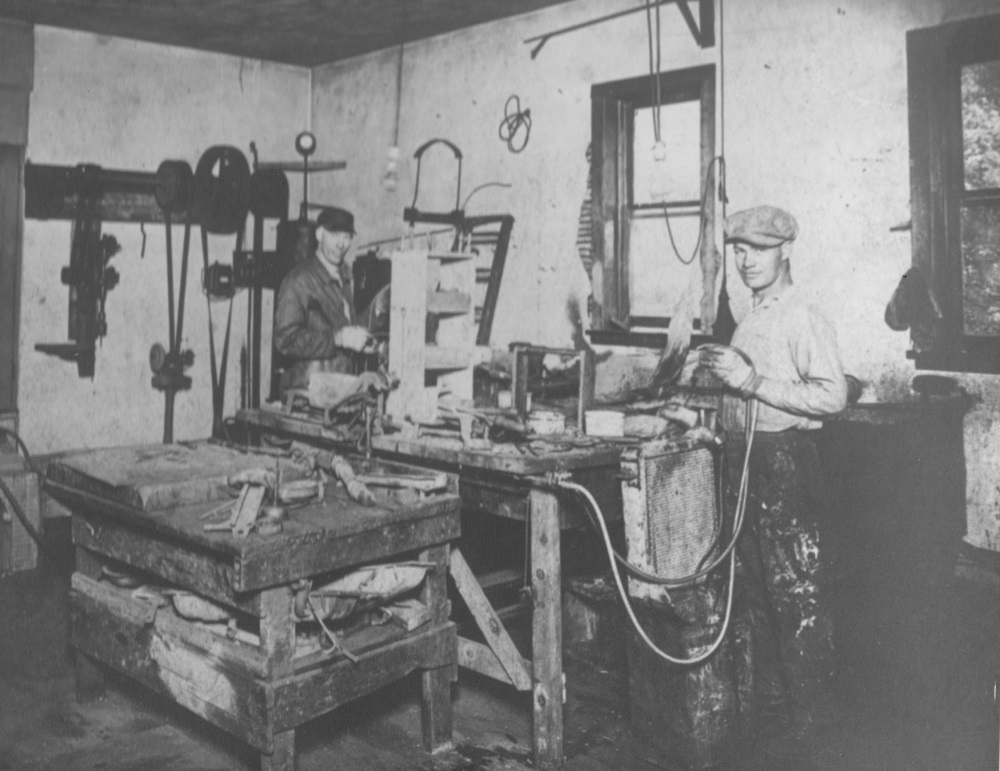 Francis Anderson in his radiator repair shop.